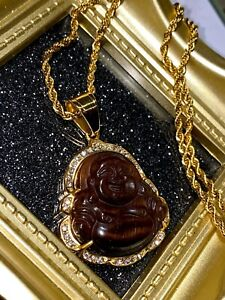 14k Gold over Good luck Chestnut Jade Iced Laughing Buddha Rope Chain Necklace