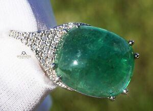 Emerald Pendant Diamond Gold 14K Natural GIA Certified 34.77CTW RETAIL $31,700