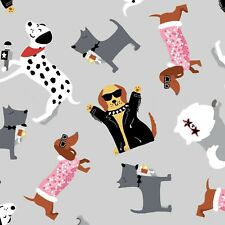 Fabric Dogs Puparazzi on Gray Cotton STUDIO E 1/4 Yard 6790