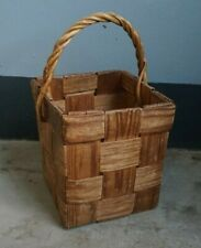 Vintage Woven Wooden Basket w/ Handle Rectangle Handy Picnic 1960s/70s