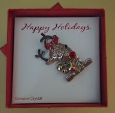 Happy Holidays Reindeer Brooch Pin Bells Genuine Crystal Nose New In Glitter Box