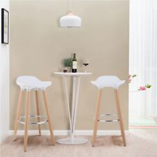 Set of 2 Bar Stools White with Footrest Wooden Frame Home Dining Room Chairs US