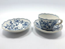 Antique Meissen Carl Teichert Blue Onion 1 Cup and 2 Saucers