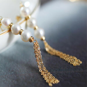 Natural white Pearl Earrings Dangle 18KGP Chain Ms gift Christmas Diy