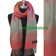 New 100% CASHMERE SCARF Chevron RAINBOW Pink/green/Coral MADE IN SCOTLAND SOFT