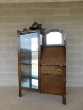 Antique Victorian Walnut Side by Side China Cabinet Desk