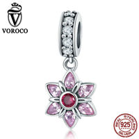 VOROCO Vintage 925 Sterling Silver AAA CZ Snowflake Dangle Charm Fit Bracelet