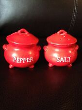 Vintage LEGO JAPAN STICKER RED FOOTED POT Salt and Pepper Shakers RED BEAN POT