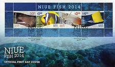 NIUE 2014 FDC Fish 4v M/S Cover Moray Anemonefish Marine Dartfish Butterflyfish