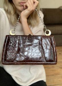 Genuine Crocodile Alligator Skin Handbag Mid Century 1930's 1940's