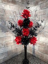 Home Decor Artificial Silk Flower Arrangement Red Poppies In Slim Black Modern Vase Home Furniture Diy Tohoku Morinagamilk Co Jp