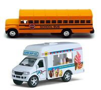 Yellow School Bus Ice Cream Truck Metal Diecast Pull Back Drives Action Toy Gift