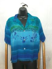 Chico's Blue Turquoise Flower Design Button Front Shirt Size 1 S Small 100% Silk