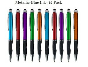 """Stylus Pens -Capactive Styli pen with Ballpoint """"Blue ink"""", 12 Pack"""
