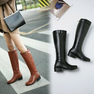 2021 Women Back Zip Round Toe Knee High Boots Riding Shoes Low Heels PU Leather