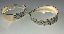 hoop earrings with a black and white glittery animal design 5 cm drop new