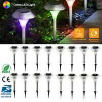12pcs Outdoor Garden Stainless Steel LED Solar Landscape Path Lights Yard Lamp