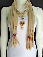 Women Beige Fashion Soft Scarf Long Necklace Multi Colors Wood Beads Owl Pendant