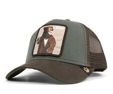 "Goorin Bros. Animal Farm Trucker Snapback Hat Cap Lone Star OLIVE/Brown/""Bear"""