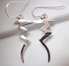 Zig Zag Lightening Bolt Earrings 925 Sterling Silver Dangle Corona Sun Jewelry