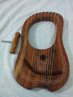 Lyre Harp Rose Wood 10 Metal Strings/10 String Lyra Harp with Free Carrying Case