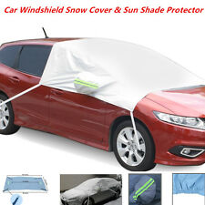 Car Front Windshield + Side Mirror Sun Snow Frost Ice Protector Tarp Flap Cover