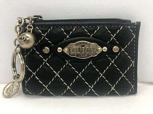 Juicy Couture Change Purse with Keychain Black Quilted Leather