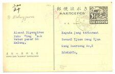 JAPAN OCCUP. DUTCH INDIES  1-06-04  PS CARD =MALANGPASAR=  CENSOR   VF