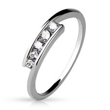 Five CZ Set Brass Ring With Rhodium Plating