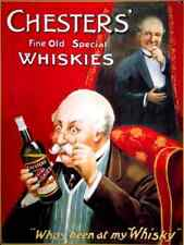 Chester's Whisky Old Vintage Advertising Drink Bottle Pub Small Metal/Tin Sign