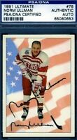 Norm Ullman Signed Psa/dna  1991 Ultimate Hockey Certified Autograph Authentic
