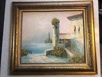 Daniello Oil Painting Canvas Seaside Villa Signed 32x28 1984