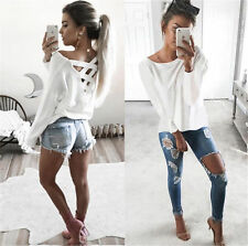 Womens Loose V Neck T-shirt Lace Up Long Sleeve Tops Shirt Blouse Casual Tee USA