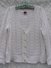 Nautica Cardigan Sweater Misses XL White Cotton Rich Open Weave MINT