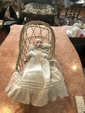 vintage Doll Rockig Basinette Wooden White 11�X7� Doll Sold Separately