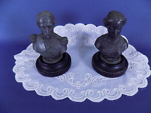 Rare Vintage Napoleon III and His Wife Pewter Busts Sculptures x 2 Signed