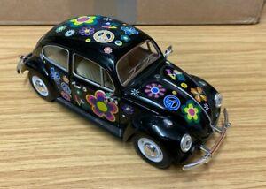 Model VW Beetle 1967 Black Love & Peace 1:24 Scale Diecast Kinsmart KT 7002 Rare