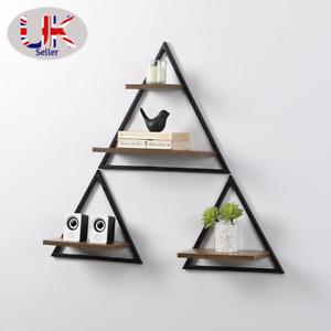 Set of 3 triangle floating decor shelves MDF wall mounted shelf Black metal wire