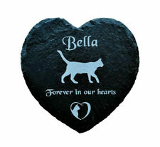 Personalised Slate Stone Heart Pet Memorial Grave Marker Headstone Plaque Cat