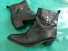 Black Leather Cowboy Boots 40 UK 6.5 Silver Studs Biker Cuban Heel cool soft