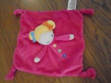 Mothercare doll comfort blanket. Pink with blonde hair & buttons