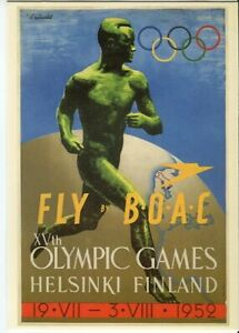 Drumahoe Postcard Fly BOAC Olympic Games Helsinki  DGA117 repro poster 1952