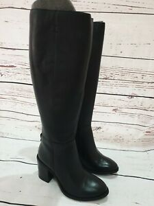 JD Williams Ladies Black Leather Knee Boots Size 5 New With Box