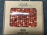 4pcs Organic Cotton Bed Sheet Set 600 TC, Small Orange Circle Full Size