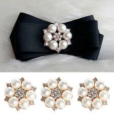 Elegant Pearl Crystal Rhinestone Buttons Flower Buckle Headwear Hair Clip Crafts