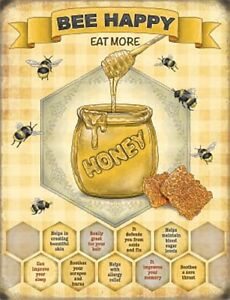 Bee Happy, Eat More Honey large steel sign 400mm x 300mm (og)