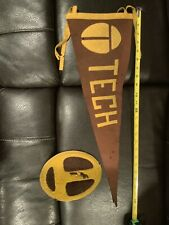 Vintage Tech Felt Pennant 1950s Rare College University Patch Brown Yellow