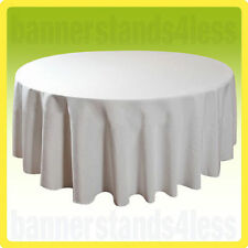 """90"""" Round Table Cover Tablecloth Seamless Wedding Banquet - White"""