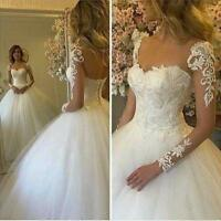 Appliken Brautkleider Tüll Langarm Hochzeitskleid Ballkleider Maßgeschneidert
