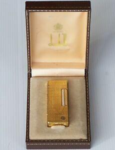 VINTAGE DUNHILL HOBNAIL D-LOGO  ROLLAGAS GOLD-PLATED CIGARETTE LIGHTER w BOX